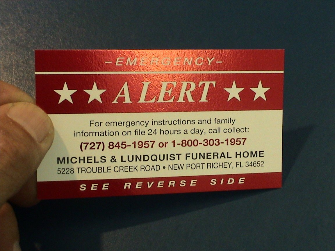 RED FOIL EMERGENCY CARD